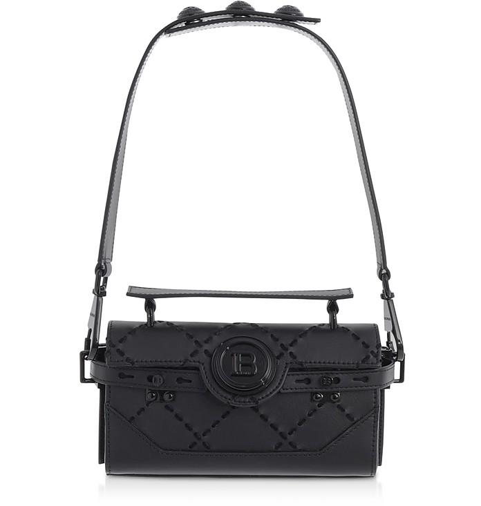 Black Leather & Suede Bbuzz Baguette 19 Shoulder Bag - Balmain