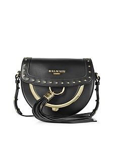 Domaine 18 Glove Black Leather Crossbody Bag w/Pompon and Studs - Balmain