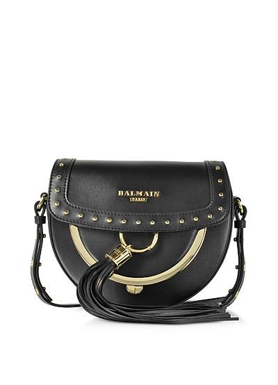 Domaine 18 Glove Black Leather Crossbody Bag w/Pompon and Studs - Balmain