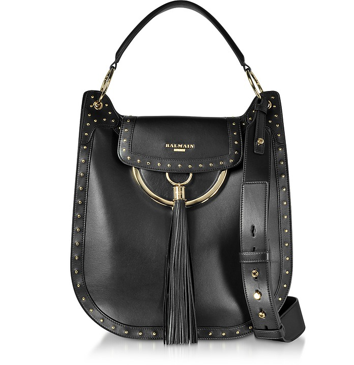 Domaine 33 Glove Black Leather Shoulder Bag w/Pompon and Studs - Balmain