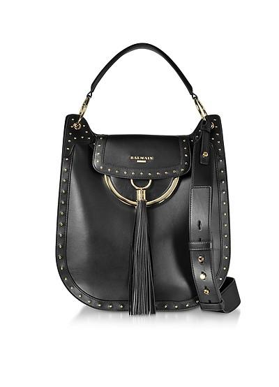 Domaine 33 Glove Black Leather Shoulder Bag w/Pompon and Studs - Balmain