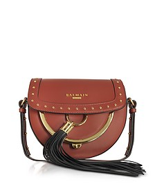 Domaine 18 Glove Terre de Sienne Leather Crossbody Bag w/Pompon and Studs - Balmain