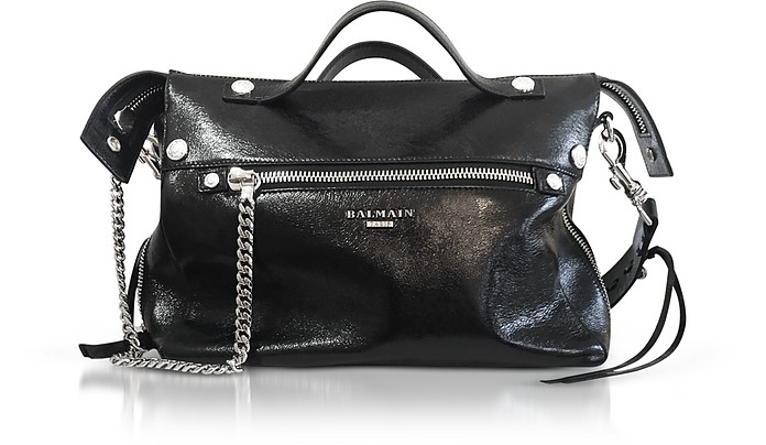 Black Wrinkled Leather Mini Satchel Bag - Balmain