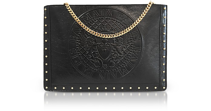 Black Coin Embossed Leather Mini Domaine Pouch w/Chain - Balmain