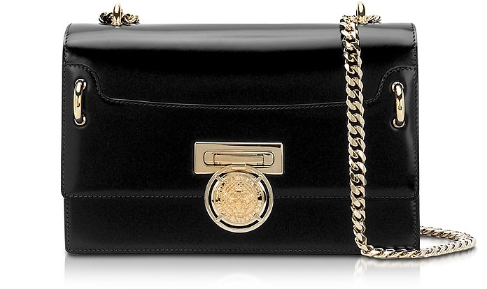 Glossy Black Leather BBox 25 Flap Bag - Balmain