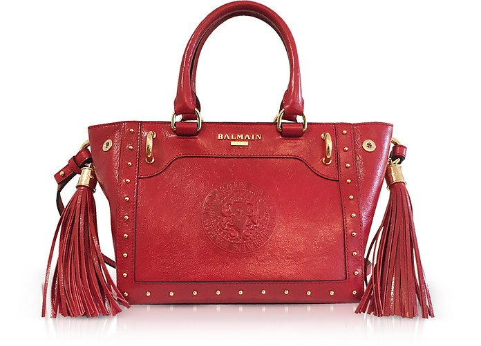 Red Leather Top Handle Mini Tote Bag