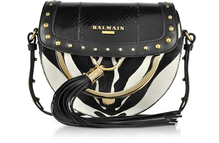 Domaine 18 Glove Ayers and Pony Hair Leather Crossbody Bag w/Pompon and Studs - Balmain