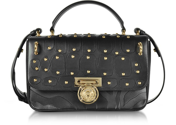 Renaissance 28 Intarsio Black Leather Satchel Bag - Balmain