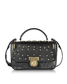 Renaissance 28 Intarsio Black Leather Satchel Bag - Balmain