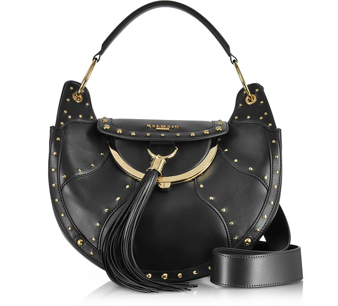 Domaine Full Moon Glove Patch Black Leather Shoulder Bag w/Pompon and Studs  - Balmain