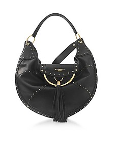 Domaine 50 Glove Patch Black Leather Shoulder Bag w/Pompon and Studs - Balmain