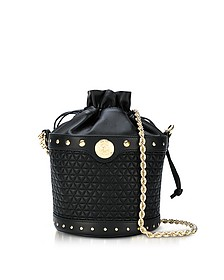 Renaissance Party Black Micro Quilted Nappa Leather Bucket Bag - Balmain