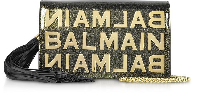 Khaki Glittered Shiny Leather Clutch w/Chain Strap and Metallic Logo - Balmain / バルマン