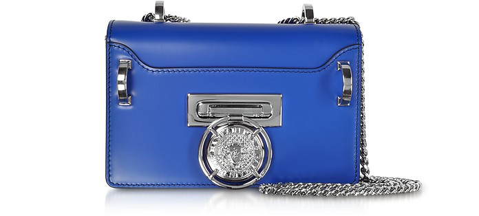 Electric Blue Smooth Leather Baby Box Flap Shoulder Bag - Balmain