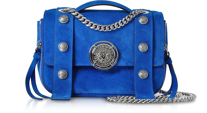 Electric Blue Leather Suede Effect BSoft 20 Flap Satchel Bag - Balmain / バルマン