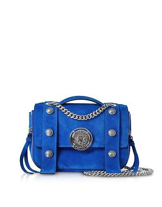 6825a1a5eca9 Electric Blue Leather Suede Effect BSoft 20 Flap Satchel Bag - Balmain