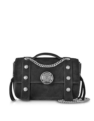 Black Leather Suede Effect BSoft 25 Flap Satchel Bag - Balmain c9a31e243a9f8
