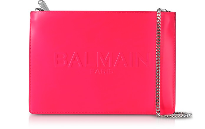 Neon Fuchsia Shiny Leather Domaine Clutch w/Embossed Logo - Balmain
