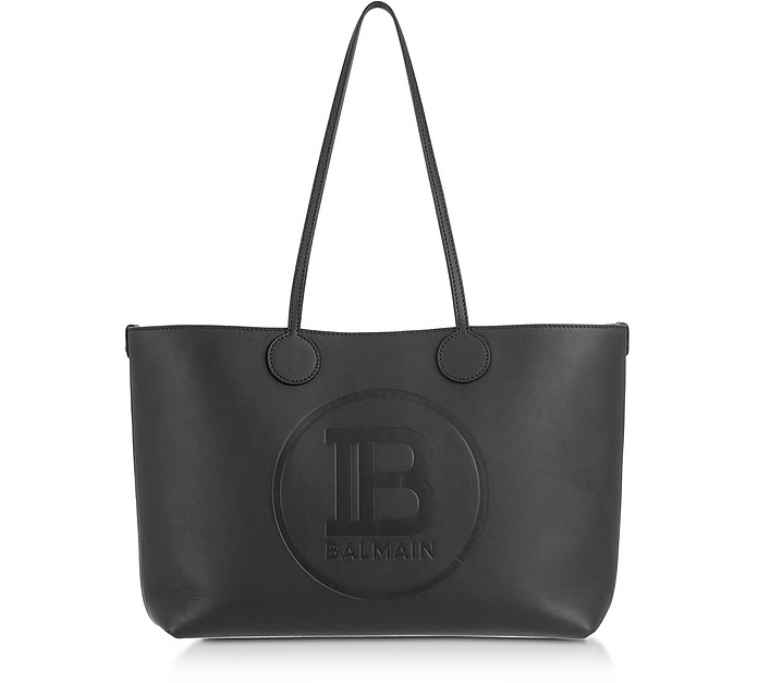Small Leather Monogram Tote Bag - Balmain