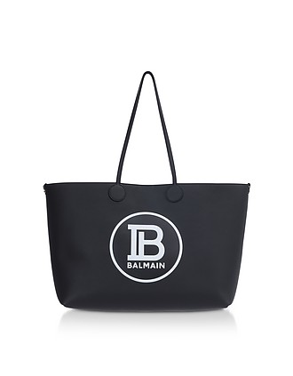 1039f9fe0a Medium Black & White Leather Tote Bag - Balmain