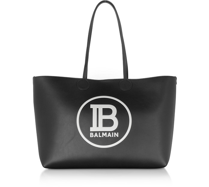 Medium Black & White Leather Tote Bag - Balmain