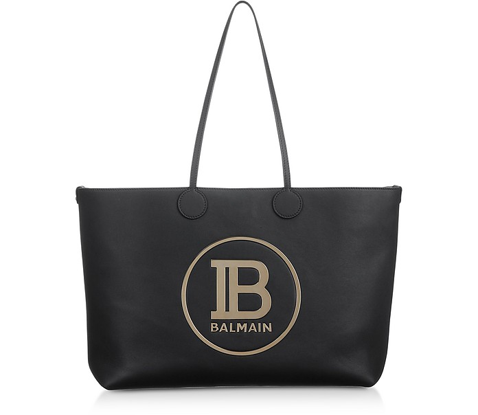 Medium Black & Gold Leather Tote Bag - Balmain