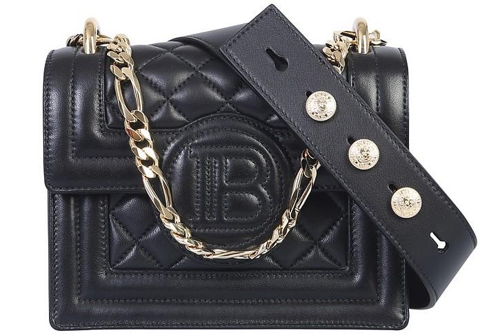 Black QUilted Leather B-Bag 18 Shoulder Bag - Balmain