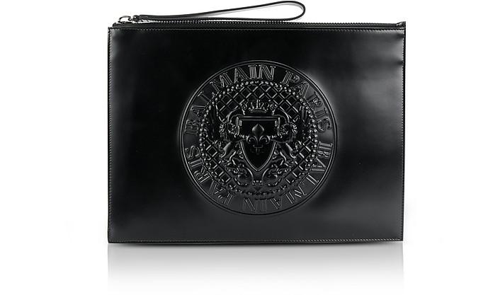 Black Shiny Leather Mini Men's Pouch w/Embossed Logo - Balmain