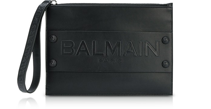 Black Smooth Leather Mini Men's Pouch w/Embossed Signature Blazon - Balmain