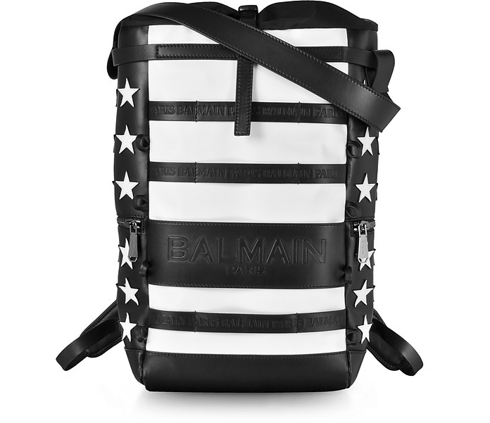 American Flag Black and White Patchwork Leather Men's Cruise Backpack - Balmain