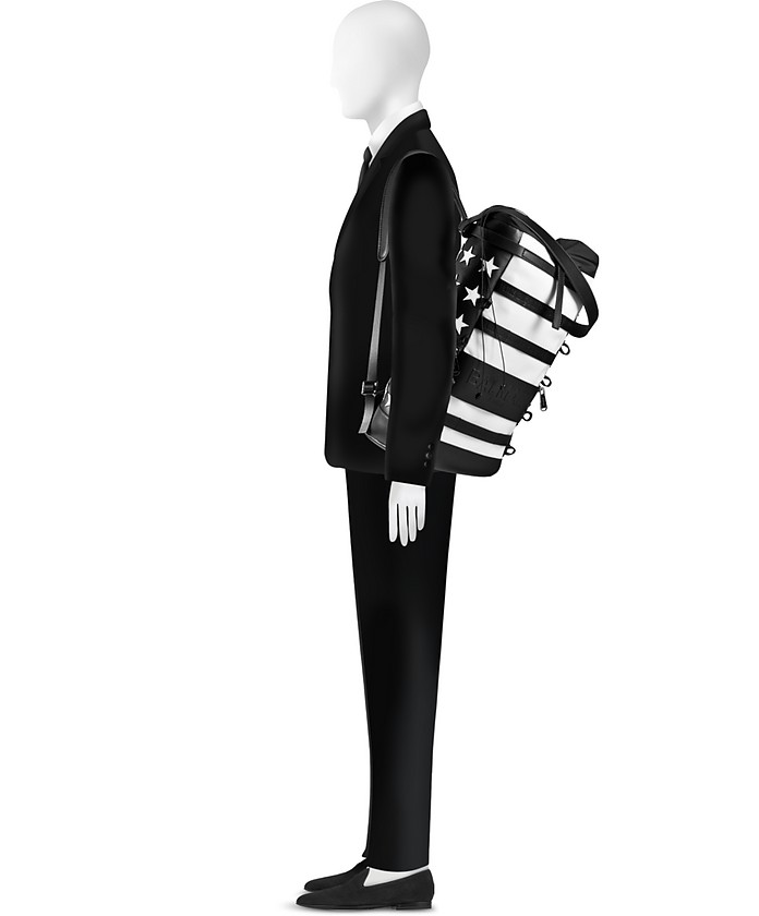 Zaino da Uomo in Pelle Patchwork American Flag Black&White Balmain 1QmXqUnv9
