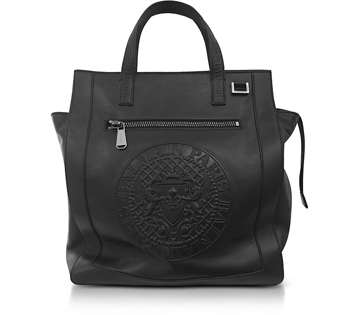 Black Smooth Leather Men's Square Tote Bag w/Embossed Blazon - Balmain