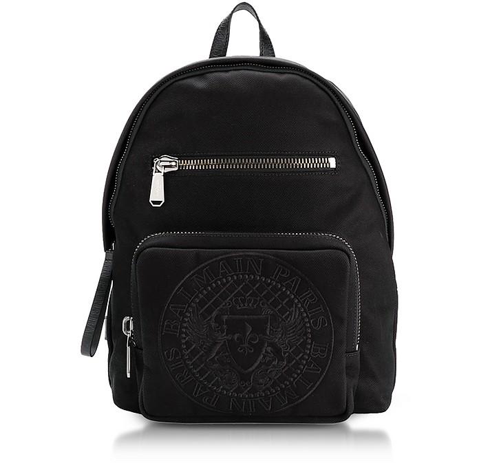 Black Nylon Men's Club Backpack w/Embossed Blazon - Balmain