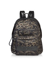 Military Green/Black Camouflage Nylon Men's Club Backpack w/Embossed Signature Logo - Balmain