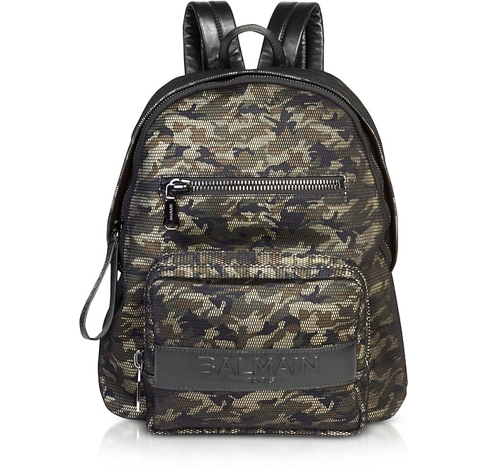 Military Green/Black Camouflage Nylon Men's Club Backpack w/Embossed Signature Logo - Balmain