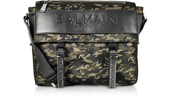 Military Green/Black Camouflage Nylon Men's Chuck Messenger Bag - Balmain