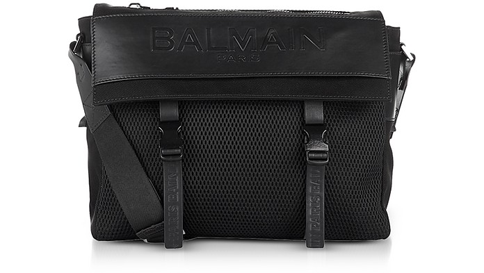 Black Nylon Men's Messenger Bag w/Embossed Signature Logo - Balmain