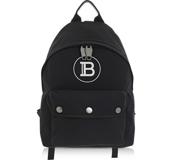 B-Back Black Nylon Backpack - Balmain