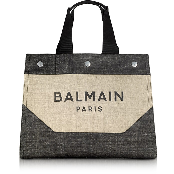 Beige and Black Signature Men's Tote Bag - Balmain