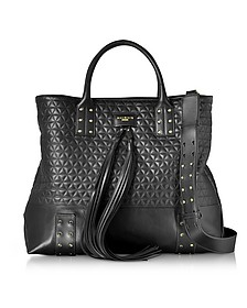 Domaine Black Quilted Leather Men's Tote Bag - Balmain
