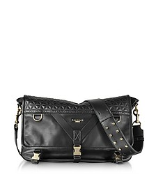 Nomade Medium Black Quilted Leather Men's Messenger Bag - Balmain
