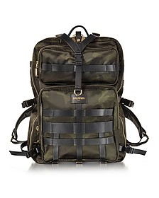 Military Green Camouflage Canvas and Leather Men's Backpack - Balmain