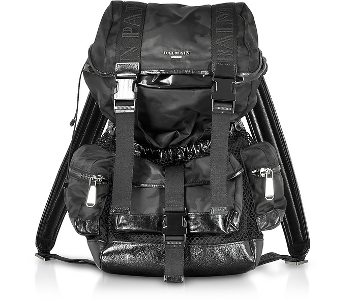 Black Camouflage Nylon and Leather Elite Backpack - Balmain