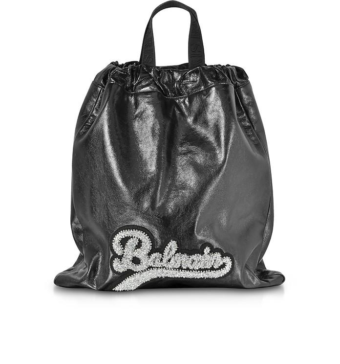 Black Leather Blink Backpack - Balmain