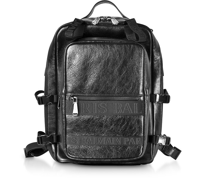 Black Finn Shiny and Distressed Leather Men's Backpack - Balmain