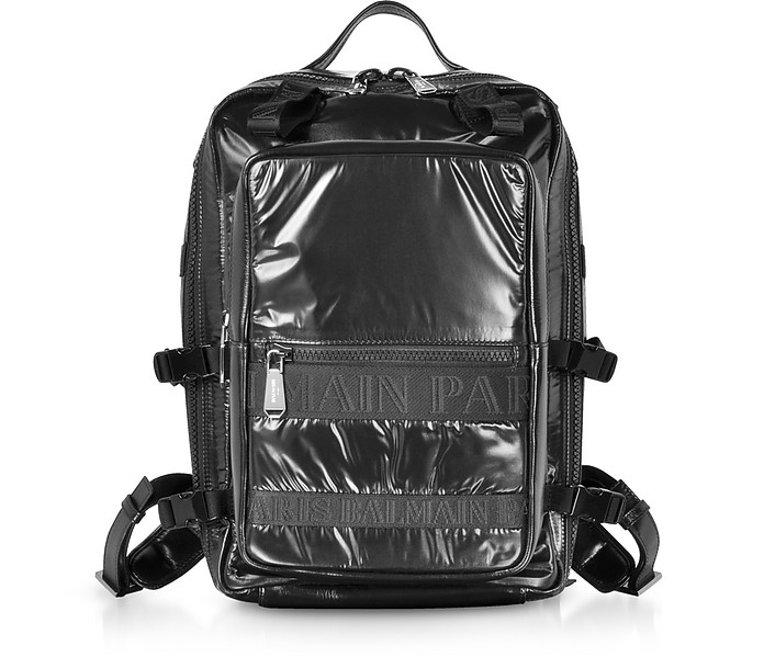 Black Quilted Nylon and Shiny Leather Men's Backpack - Balmain
