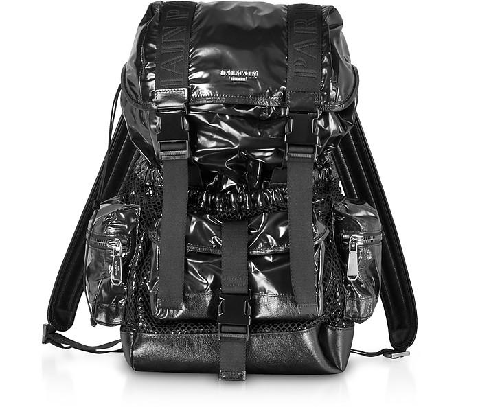 Black Shiny Nylon and Metallic Mesh Men's Backpack - Balmain