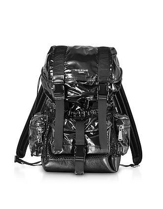 Black Shiny Nylon and Metallic Mesh Men s Backpack - Balmain c5bee45b79eaa
