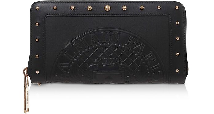 Black Embossed Leather Continental Zip-Around Wallet - Balmain