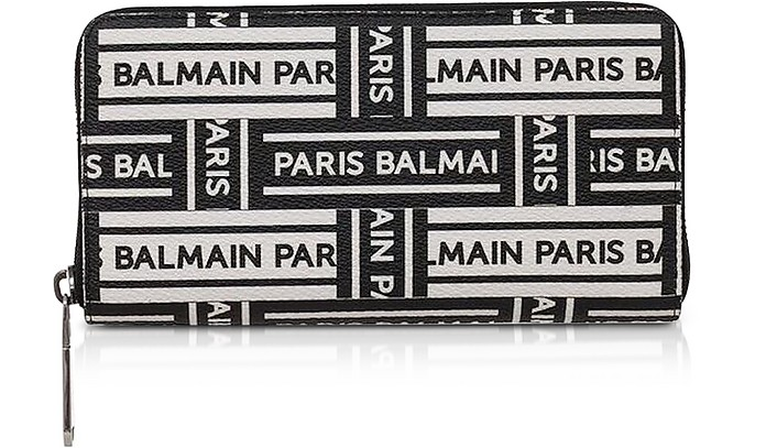 Black and White Signature Print Leather  Continental Wallet - Balmain
